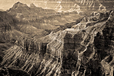B&W - Bright Angel Canyon - early morning light - Transept Trail