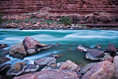 North Canyon rapid - twilight -  lower Supai Group - Watahomigi Formation - Mile 20.4