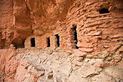 Nankoweep - Anazasi grain storage shelters ~ 500 feet above river level
