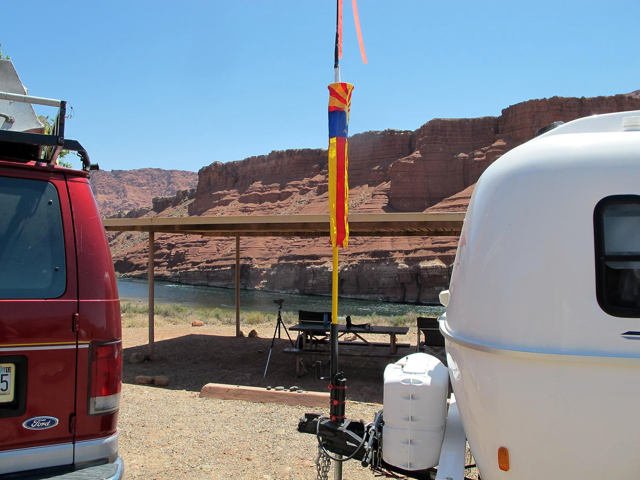 Konrad & Lynn's ramada and Arizona windsock