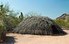 A straw desert shelter at the Desert Botanical Gardens in Phoenix, Arizona, USA.