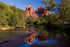 Sedona, AZ/Oct. Cathedral Rock is mirrored in Oak Creek at Sedona's famous Red Rock Crossing.