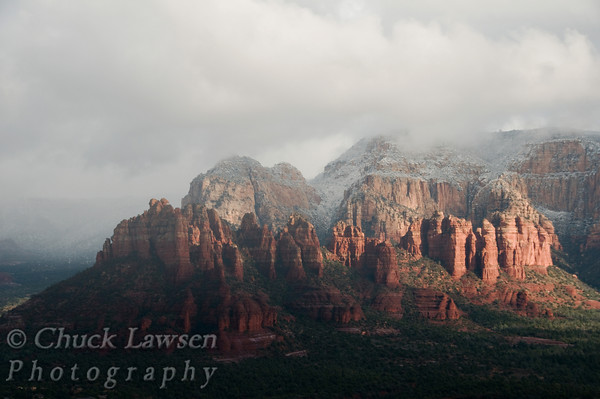 Sedona, AZ/Dec. A winter storm clears over Munds Mountain looking East from Sedona.