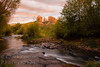 D_AZSED0148_Chuck Lawsen. Sunset glows warm light on Cathedral Rock  and Oak Creek at Red Rock Crossing in Sedona, AZ.