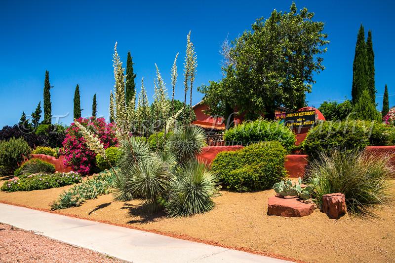 Shops and flowers near Sedona, Arizona, USA.