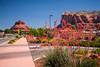 Bell Rock and flowers near Sedona, Arizona, USA.