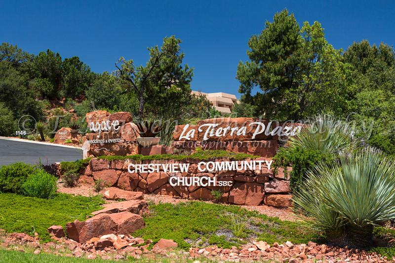 La Tierra Plaza sign In Sedona, Arizona, USA.