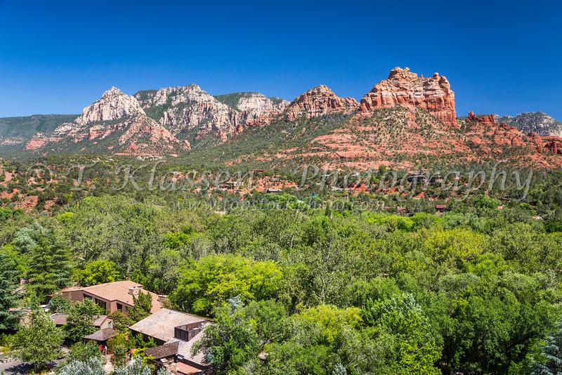 Red rock formations in the landscape near Sedona, Arizona, USA.