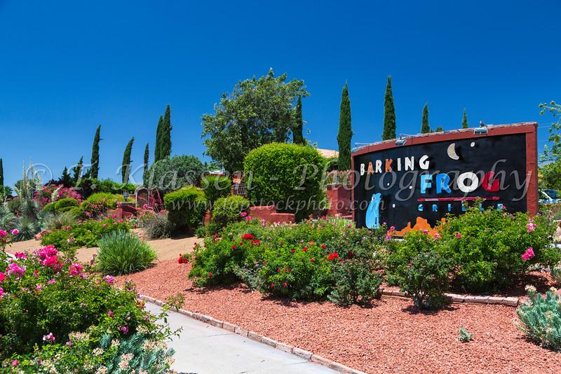 The Barking Dog Grille and flowers near Sedona, Arizona, USA.