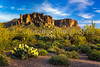 The Superstition Mountains on the Apache Trail east of Mesa Arizona, USA.