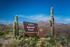 Saguaro cactus and the entrance sign to Tonto National Forest, Arizona, USA.