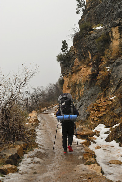 Ascending the ice-covered upper Bright Angel Trail.