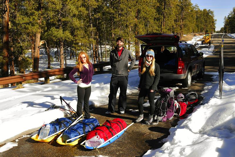 The ski trek started on AZ state highway 67 near Jacob Lake.