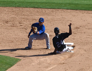 Dexter Fowler steals 2nd base for the Colorado Rockies.