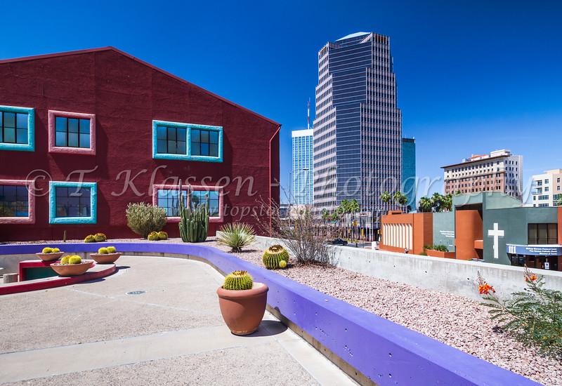 The colorful  La Placita Village in downtown Tucson, Arizona, USA.
