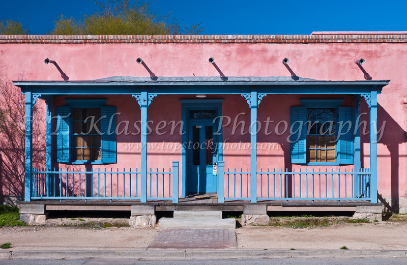 Doorways and building architecture in Barrio historico, historical section of Tucson, Arizona, USA.