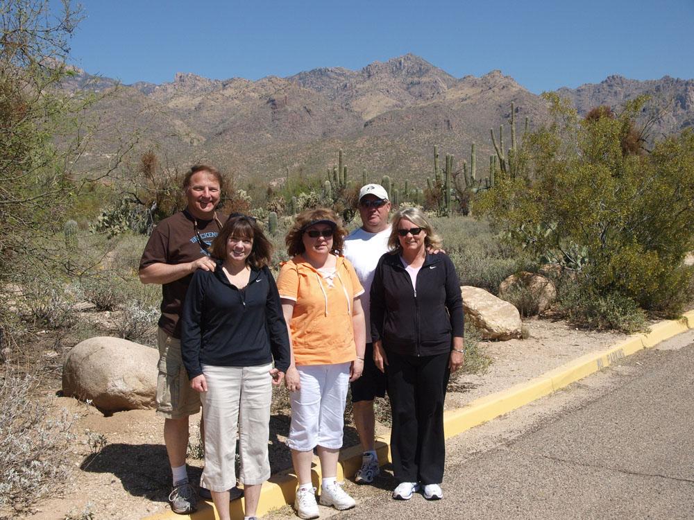 Ed, Patty, Robin, Randy, & Cheryl at the entrance to Sabino Canyon.