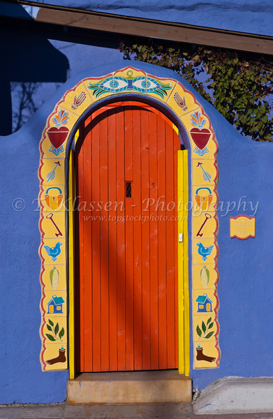 Doorway and building architecture in Barrio historico, historical section of Tucson, Arizona, USA.