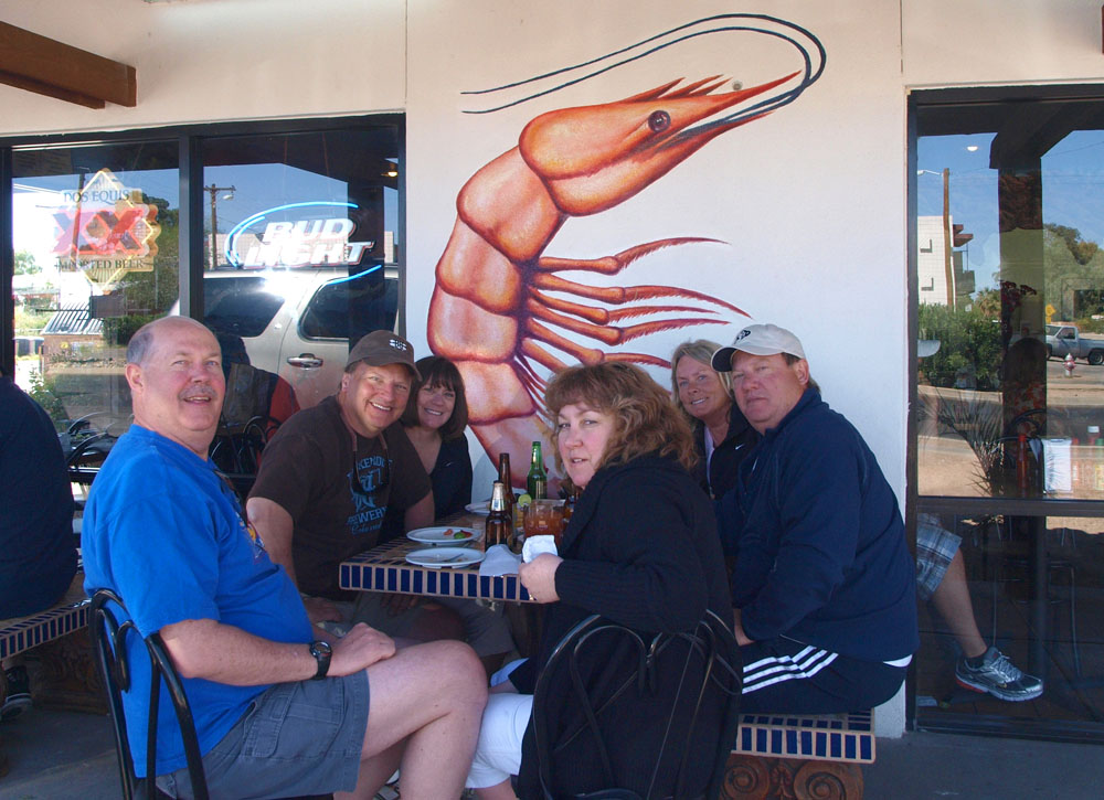 Lunch at Mariscos Chiuhauha in Tucson.  The shrimp were good!  Dean, Ed, Patty, Robin, Cheryl, Randy.