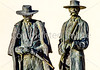 Wyatt Earp & Doc Holliday statue at train station in Tucson, AZ - C3-0098 - 72 ppi