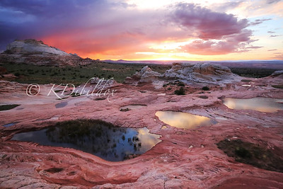 Sunset at White Pocket. It had rained earlier in the day so I was lucky enough to have puddles to reflecta the sky.