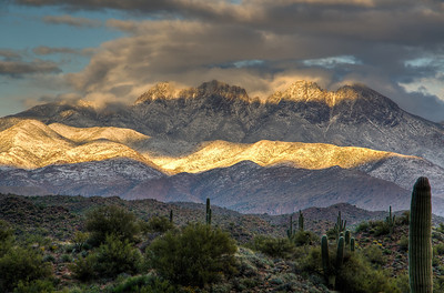 Spring snow on Four Peaks. Near Fountain Hills, Arizona High Dynamic Range Photography