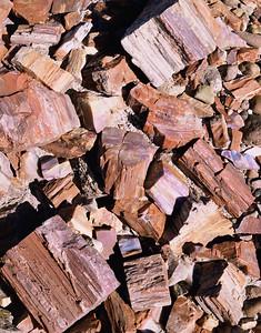 Petrified Forest Natn'l., AZ/Mon. Petrified wood pieces close-up showing crystalization 2/86v  xc