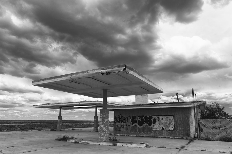 Thunderstorm and Service Station, Two Guns, AZ
