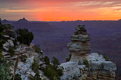 Sunrise from a viewpoint along the Rim Drive in Grand Canyon National Park. This spot is located just east of the Yaki Point drive.  © Kyle Spradley Photography | www.kspradleyphoto.com