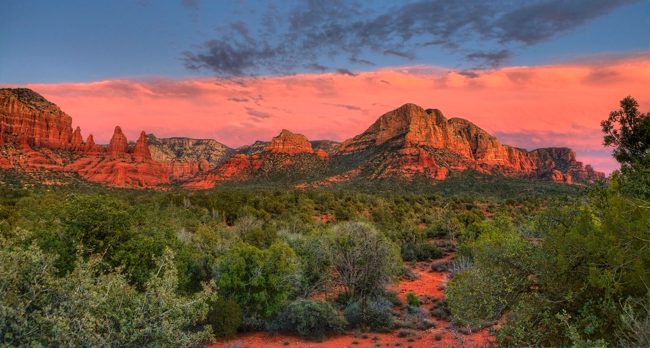 """Sunset at Courthouse Butte. 28"""" x 15""""."""