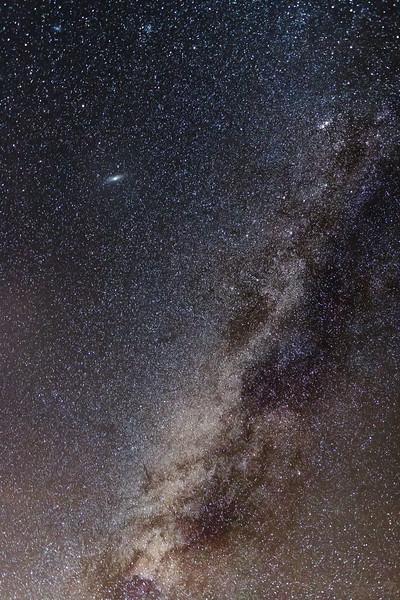 Milky Way core and Andromeda Galaxy