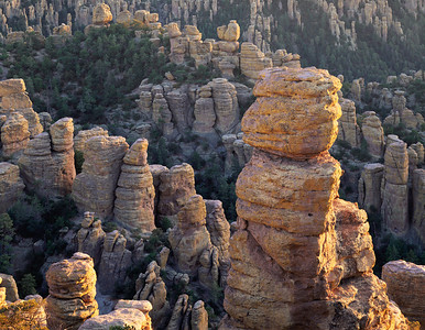 Chiricahua National Mon., AZ/Rock Formations in the last light of sunset. Echo Canyon.  194h3