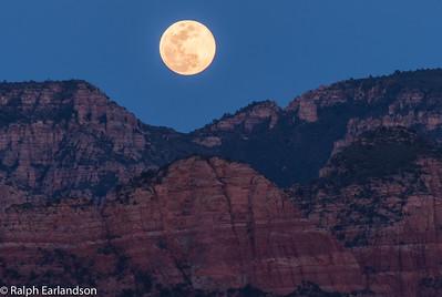 Full moon rising near Sedona.