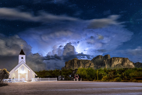 Electrifying Night over Superstition Mountain in Color