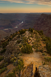 Sunrise at Desert View at Grand Canyon National Park. This viewpoint is one of the furtherest east viewpoints in the park and is highlighted by a stone watchtower and views of the Colorado River. The historic tower was constructed in the 1930s and provides a true panoramic view of the canyon.  © Kyle Spradley Photography | www.kspradleyphoto.com