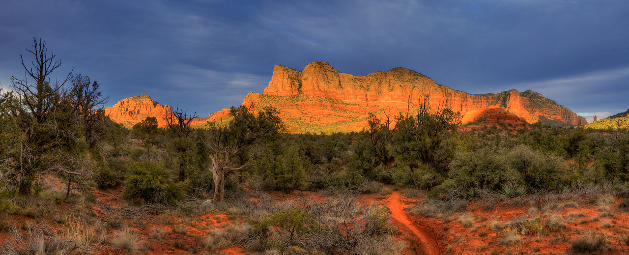 """Sedona. View from Bell Rock Pathway #1. 37"""" x 15""""."""