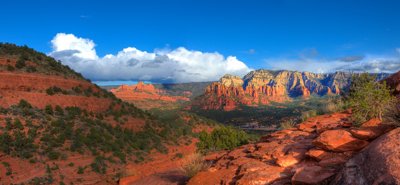 """View from Airport Loop # 1. Sedona. 32"""" x 15""""."""