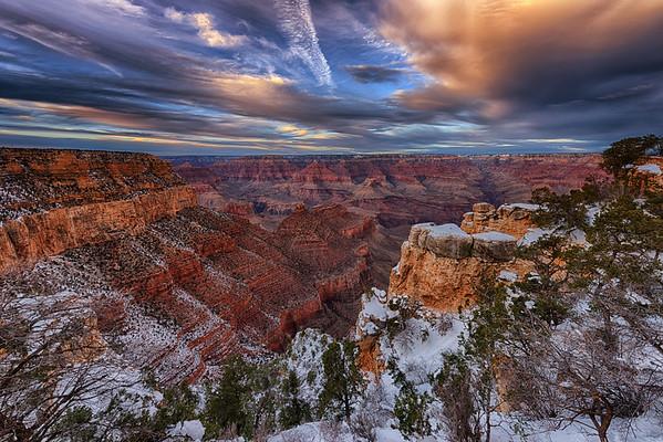 Snow Sunset at Grand Canyon