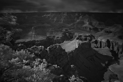The infamous Hopi Point, which lies west of the Canyon Village along the West Rim Drive. Hopi Point is a popular spot for photographers thanks to the spot's panoramic views of the canyon. These images were captured using a Hoya Infrared filter.  © Kyle Spradley Photography | www.kspradleyphoto.com