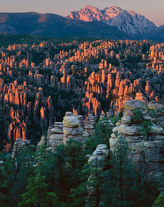Chiricahua National Monument, AZ / Cochise Head, on the distant ridge line, and The Heart of Rocks glow red in the sunset light illuminating the eroded rock spires. 1003V6