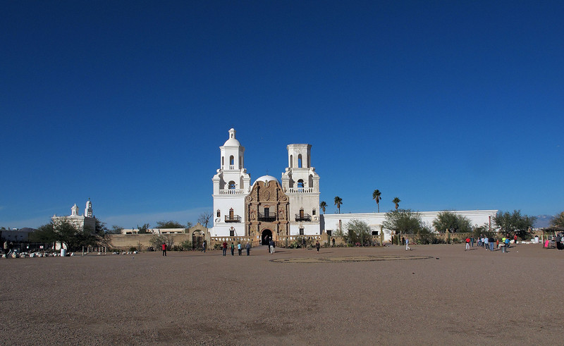 San Xavier del Bac Mission      Dec. 23, 2012<br /> <br /> The walls are 3 ft. thick, the exterior and interior walls each 1 ft. thick with the 1 ft. space in between being filled with stone rubble with lime poured around the stones.