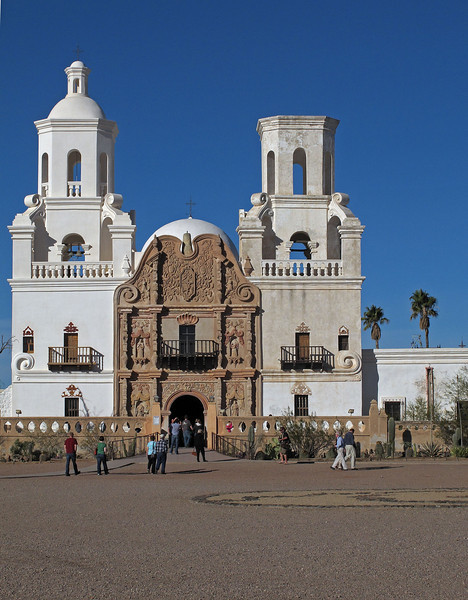 San Xavier del Bac Mission      Dec. 23, 2012 <br /> <br /> The bell towers walls are 6 ft. thick with stairways enclosed.  The east tower, one to your right, was left unfinished when funds ran out.