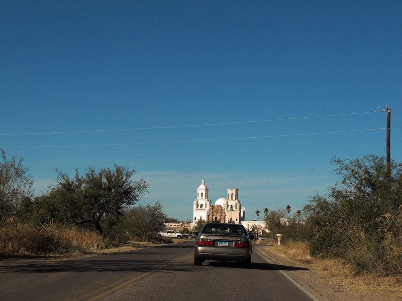 San Xavier del Bac Mission      Dec. 23, 2012<br /> <br /> Approaching the mission you can see how it stands above the landscape.  The mission faces north.