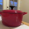 This is my new red enameled cast iron dutch oven -- can't wait to cook up something delish this weekend!