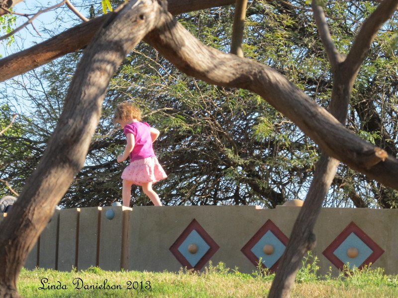 When was the last time you were carefree, walking and jumping along a wall?  Looks fun to me... :)
