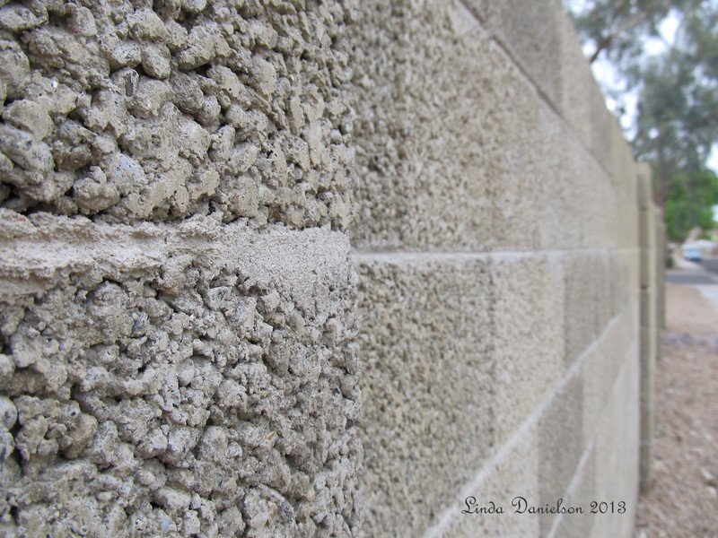 A study in textures, concrete block wall
