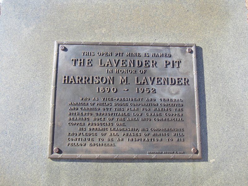 The Lavender Pit is named after Harrison M Lavender (1890-1952), an executive of the Phelps Dodge Corporation who revived the copper mine upon which Bisbee was built by making use of low grade ore.