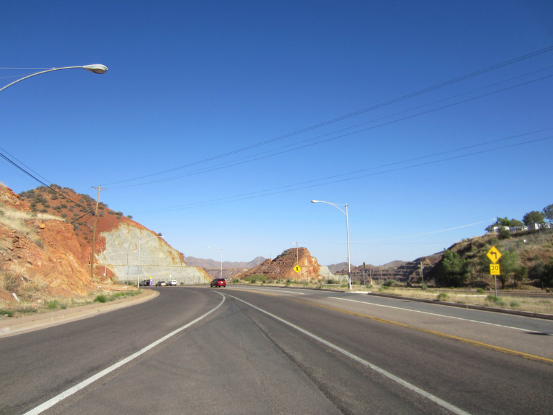 Hwy 90 just outside of Bisbee, looking at part of the old Lavender Pit copper mine.