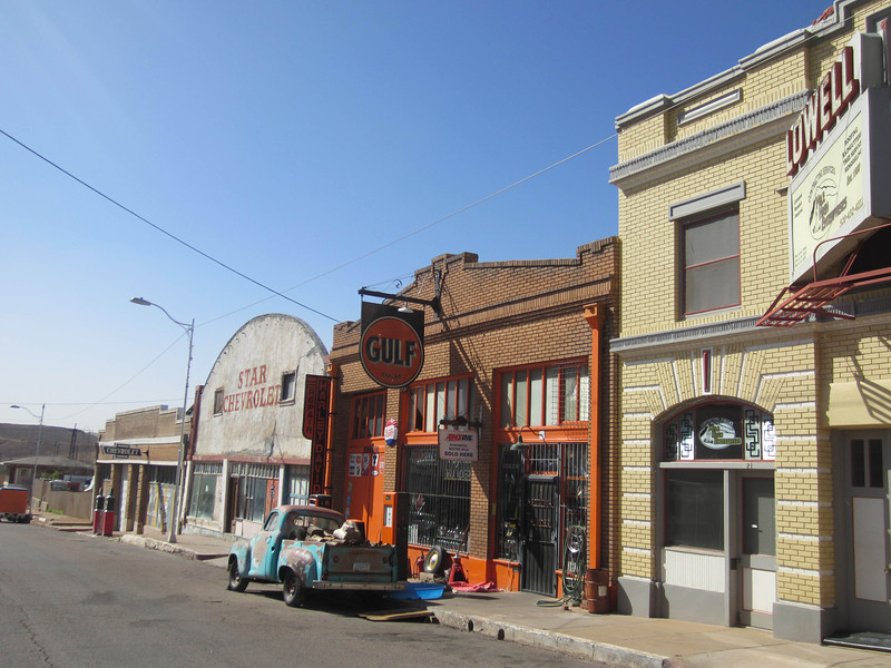 Lowell is a ghost town about 4 miles down the road from Bisbee. It's where the Phelps Dodge mine HQ userd to be. Now the old main street is adorned with vintage vehicles and storefronts, along with an excellent brearkfast/lunch place called the Bisbee Breakfast Club..