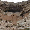 Montezuma Castle National Monument, off Hwy 17, south of Sedona. The Verde River Valley was once home to the Southern Sinagua people, who are ancestral to the Hopi. They were farmers and made use of canals and irrigation. This settlement 100 feet above the Beaver Creek valley dates from around 1000 AD and peaked circa 1300-1400 AD. Mis-named Montezuma Castle because initially Europeans thought the Aztecs had built this and other sites in the SW. The castle was open to the public until 1958, when it was closed for conservation reasons.